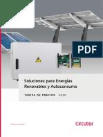 202002 Circutor Tarifa de Precios Soluciones Para Energías Renovables y Autoconsumo 2020