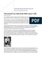 Ultrasound Can Selectively Kill Cancer Cells