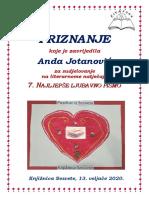 Priznanje Za Sudjelovanje 2020. - Anda Jotanović-PDF