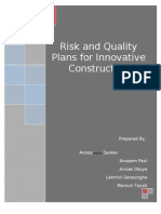 Risk and Quality Plans For_Innovative Constructors