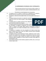 DECALOGO DE LA EXPERIENCIA VIVENCIAL DEL CATEQUISTA