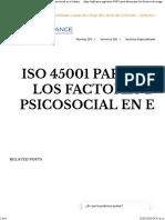 ISO 45001 para determinar los factores de riesgo psicosocial en el trabajo