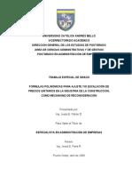 Formulas polinomicas para ajueste y escalacion de precios unitario