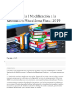 Análisis de la I Modificación a la Resolución Miscelánea Fiscal 2019