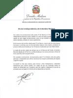 Mensaje del presidente Danilo Medina con motivo del Día de la Independencia y de la Bandera Nacional