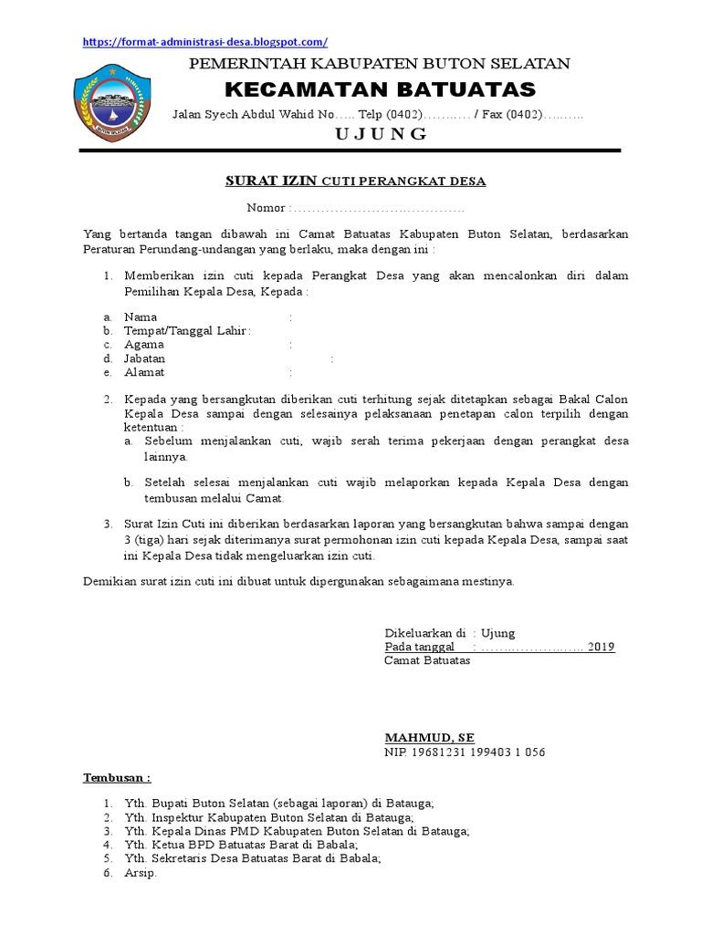 27++ Contoh surat permohonan cuti calon kepala desa terbaru terbaru
