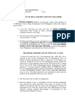 Affidavit of Adjudication by Sole Heir