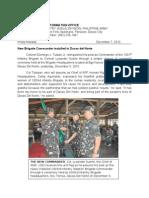 New Brigade Commander installed in Davao del Norte