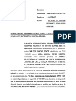 ESCRITO SOLICITO ACLARACION RESOLUCION JUDICIAL