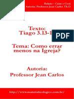 como errar menos na igreja Estudos em Tiago