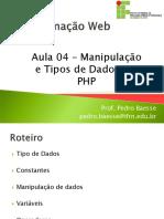Aula 04 - Manipulacao e Tipos de Dados em PHP