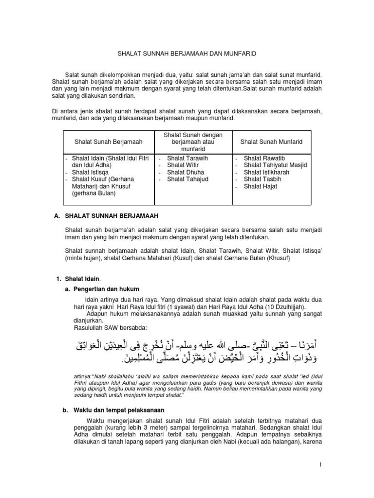 12 Shalat Sunnah Berjamaah Dan Munfarid Doc