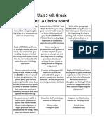unit 5 practice choice board  homework
