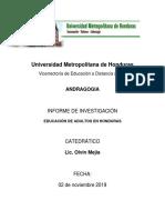 INVESTIGACION EDUCACION DE ADULTOS EN HONDURAS