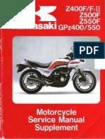 Kawasaki GPZ 400-550 & Z 400 F-FII - Z 500-550 F '83 a '85 - Service Manual Supl