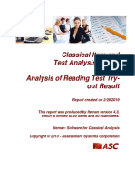 Analysis of Reading Test Try-out Result