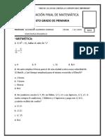 Evaluación Final de Matemática 6to Grado