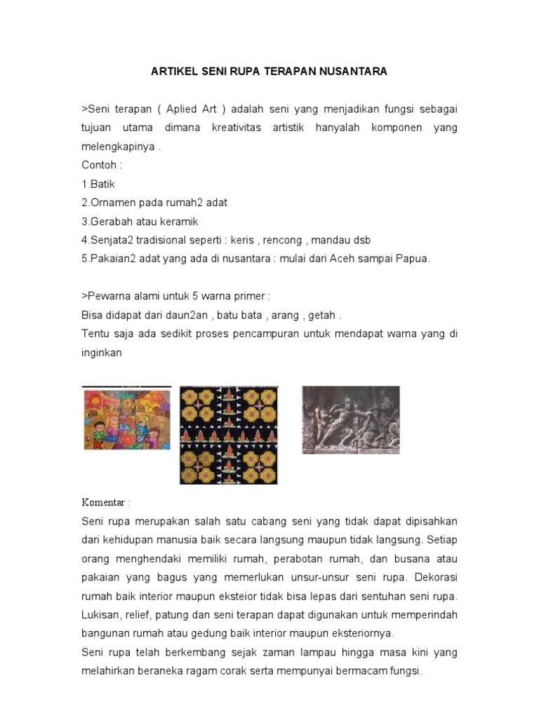 Artikel Seni Rupa Terapan Nusantara