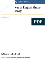 The adjectives in English Grammar - Summary