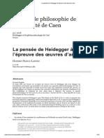 La pensée de Heidegger à l'épreuve des œuvres d'art