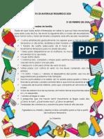 LISTA DE MATERIALES REQUERIDOS 2020
