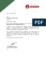 Carta de Admisión - MAESTRÍA EN PROJECT MANAGEMENT