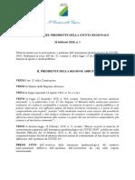 Regione Abruzzo Ordinanza Covid-19 n. 1 Del 26-2-2020