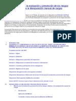 Guía técnica para la evaluación y prevención de los riesgos relativos a la Manipulación manual de cargas