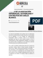 Teoría de La Asociación Diferencial_ Sutherland y Los Delitos de Cuello Blanco. - Derecho a Réplica
