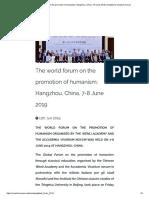 The world forum on the promotion of humanism - Vivarium Novum