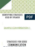 Identifying strategies used by speaker