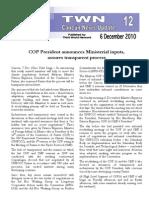 TWN #12 COP President announces Ministerial inputs, assures transparent process