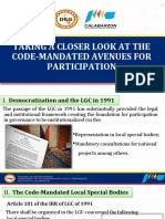 Code Mandated Avenues of CSO Participation