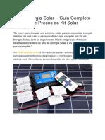 Kit de Energia Solar – Guia Completo Dos Tipos e Preços Do Kit Solar
