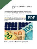 Quanto Custa Energia Solar – Vale a Pena Investir