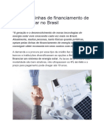 Principais Linhas de Financiamento de Energia Solar No Brasil