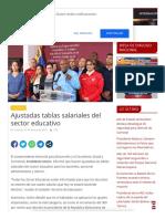 Ajustadas tablas salariales del sector educativo