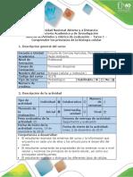 Guía de actividades y rúbrica de evaluación - Tarea 1 -  Comprender los principios de la biología celular