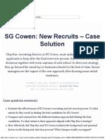 SG Cowen New Recruits - Case Solution