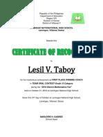 Certificate of Recognition (District Mathematics Fair 2018) 2