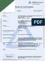 Certificado do cabo CABO SOLARCOM 400,00mm2 0,6_1kV (CA) ou 1,8kV (CC)