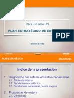 """Presentación """"Bases para un Plan Estratégico de Educación""""  por Silvina Gvirtz"""