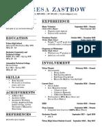 theresa zastrow resume