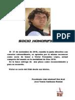Nombramiento Socio de Honor a Victor Fernandez