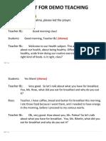SCRIPT FOR DEMO TEACHING