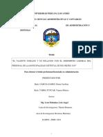EL TALENTO HUMANO Y SU RELACIÓN CON EL DESEMPEÑO LABORAL DEL PERSONAL DE LA MUNICIPALIDAD DISTRITAL DE RIO NEGRO 2019