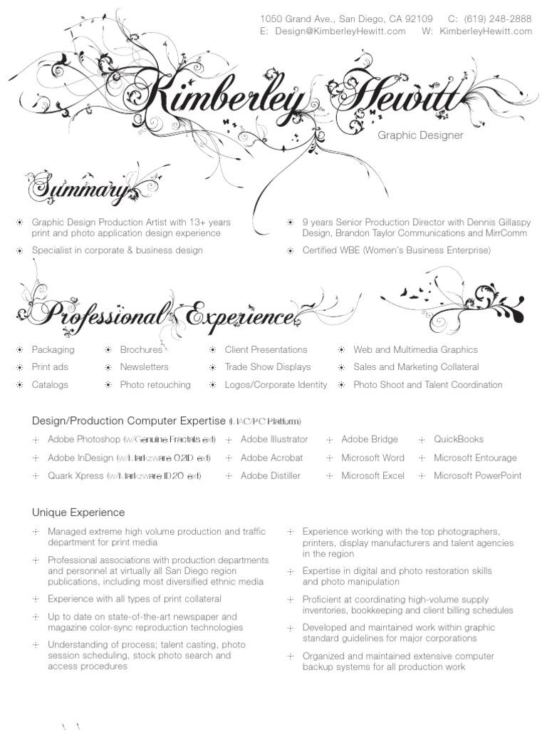 Kim Hewitt Resume | Graphic Design | Adobe Systems