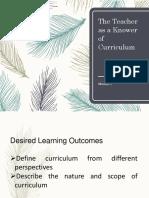 The Teacher as a Knower of Curriculum