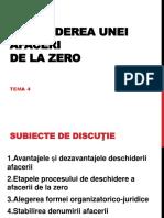 Tema 4 Deschiderea unei afaceri la zero