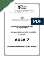 SOCIOLOGIA E EDUCAÇÃO AULA 7